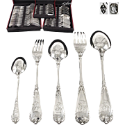 BOIVIN : Exquisite 60pc Antique French Sterling Silver Flatware Set for Twelve