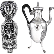 GRANGER : Striking Antique French Sterling Silver Empire Coffee Pot with Mascaron, Ram's Head Decor