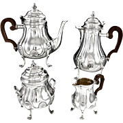 PUIFORCAT : Antique French Sterling Silver & Vermeil Tea & Coffee Set 4pc