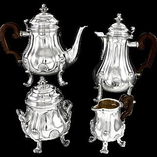 PUIFORCAT : Antique French Sterling Silver & Vermeil Tea & Coffee Set 4pc
