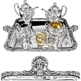 HENIN : Stunning Antique French Sterling Silver Tea & Coffee Set MASCARONS, Original  Tray 5pc