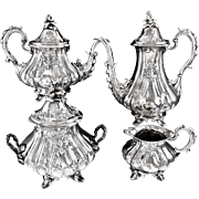 HARLEUX : Antique French Romantic era 4pc Sterling Silver Tea & Coffee Set c. 1840