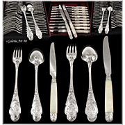 COIGNET : Antique French ART NOUVEAU Sterling Silver IRIS Flatware Set 72pc