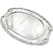 """PUIFORCAT : Exceptional 21.7"""" Antique French Sterling Silver Serving Platter / Tray, Marquis Crown"""