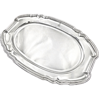 "PUIFORCAT : Exceptional 21.7"" Antique French Sterling Silver Serving Platter / Tray, Marquis Crown"