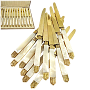 ERNIE :  Antique French Empire Style 18K Gold on Silver & Mother of Pearl 12pc Knife Set, Original Box