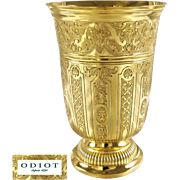 ODIOT : Antique French Vermeil Sterling Silver BERIN Regency Beaker / Wine Goblet, original Box