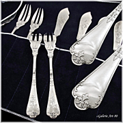 "PUIFORCAT MELLERIO : Prestigious Antique French Sterling Silver ""Fer de Lance"" Fish Flatware Set"