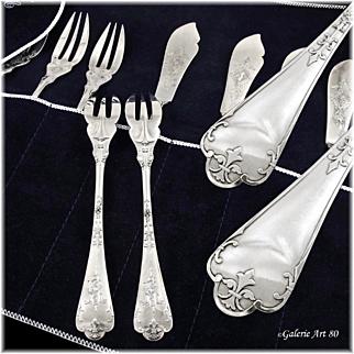 """PUIFORCAT MELLERIO : Prestigious Antique French Sterling Silver """"Fer de Lance"""" Fish Flatware Set"""