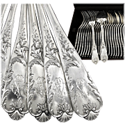 FRESNAIS : Splendid Antique French Sterling Silver 'Louis XV' Dinner Flatware Set for Twelve, 24pc