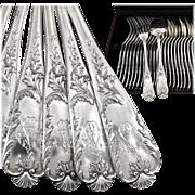 FRESNAIS : Glorious Antique French Sterling Silver 'Louis XV' Dinner Flatware Set for Twelve, 24pc