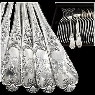 FRESNAIS : Splendid Antique French Sterling Silver 'Louis XV' Dinner Flatware Set for Twelve, 24pc