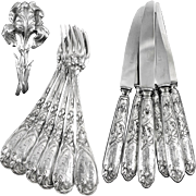 PUIFORCAT : Antique French Art Nouveau IRIS Sterling Silver Flatware Set for Six Guests
