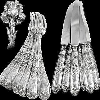 PUIFORCAT : Antique French Art Nouveau IRIS Sterling Silver Flatware Set for Six Guests
