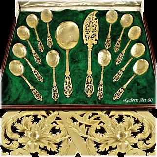 """PUIFORCAT : Antique French Vermeil Sterling Silver Renaissance """"François 1er"""" Ice Cream / Dessert Flatware Set 14pc"""