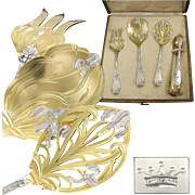 PUIFORCAT : Royal Antique French Art Nouveau IRIS Sterling Silver Vermeil Hors d'Oeuvre Serving Set 4pc, Original Box