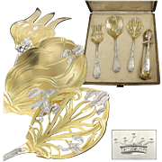 PUIFORCAT : Rarest Antique French Art Nouveau IRIS Sterling Silver Vermeil Hors d'Oeuvre Server Set 4pc, Royal Crown