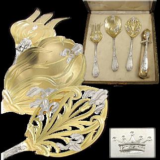 PUIFORCAT : Rarest Antique French Art Nouveau IRIS Sterling Silver Vermeil Hors d'Oeuvre Server Set 4pc, Royal Crown