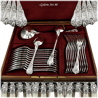 QUEILLE : Antique French Sterling Silver 38pc 'Louis XV' Flatware Set for Twelve, w/ Servers
