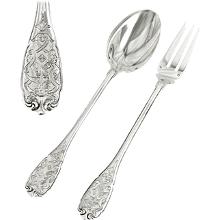 PUIFORCAT Elysee : Prestigious French Sterling Silver Regency style Serving Fork and Spoon Set