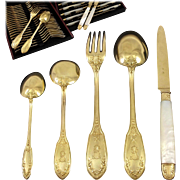 LINZELER : 60pc Antique French Vermeil Sterling Silver Louis XVI Dessert / Luncheon Flatware Set