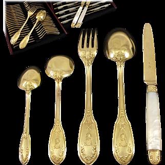 LINZELER : 60pc Antique French Vermeil Sterling Silver Louis XVI Dessert / Luncheon Flatware Set