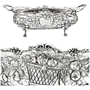 "GAUTHIER : Antique 16"" French Sterling Silver Louis XV Jardiniere Centerpiece with Mascarons, Armorial / Coat of Arms"