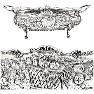 """GAUTHIER : Antique 16"""" French Sterling Silver Louis XV Jardiniere Centerpiece with Mascarons, Armorial / Coat of Arms"""