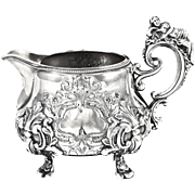 FRAY : Antique French Sterling Silver Creamer / Jug with Figural Classical Maiden