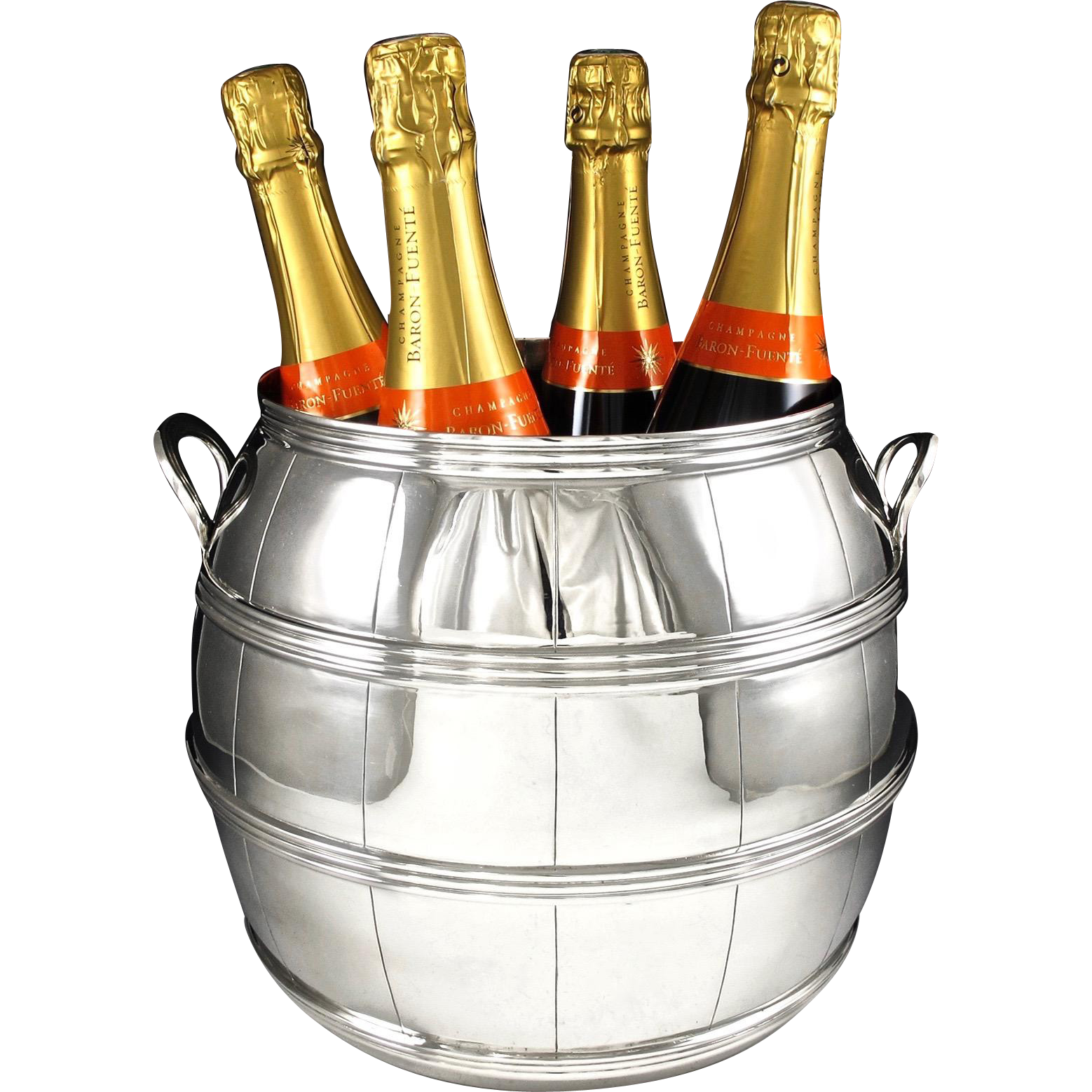 LALE : Spectacular Sterling Silver Wine Barrel Form Champagne Cooler 3315 grams - Provenance Alberto PINTO