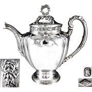 HENIN : Antique French Sterling Silver Tea or Coffee Pot MASCARON / GREEN MAN Spout - 994 grams!
