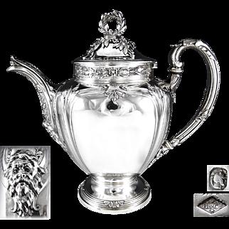HENIN : Antique French Sterling Silver Tea or Coffee Pot MASCARON / GREEN MAN Spout - 994 grams!