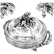 CARDEILHAC : Antique French Sterling Silver Louis XV Soup Tureen, Figural Vegetable Finial