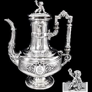 CHENAILLER : Antique French Sterling Silver Coffee Tea Pot, PUTTI Figural Finial