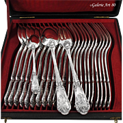 PUIFORCAT : 36pc Antique French Sterling Silver POMPADOUR Flatware Set for Twelve