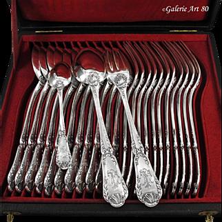 PUIFORCAT : 36pc Antique French Sterling Silver POMPADOUR Flatware Set for Twelve