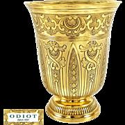 ODIOT : Antique French Vermeil Sterling Silver BERIN Regency Beaker / Wine Goblet, Original Box