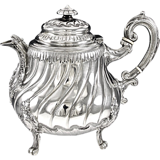 MASSAT : Charming Antique French Sterling Silver Louis XV Teapot