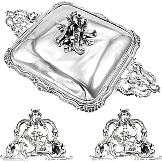 HARLEUX : Spectacular Antique French Sterling Sterling Tureen - GRIFFINS, Mascarons