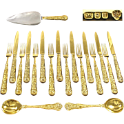 CJ VANDER : Rare Vermeil Sterling Silver Regency 'STAG HUNT' Dessert Flatware Set for EIGHT