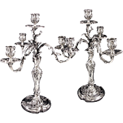 FEAU : Majestic Pair of Antique French Sterling Silver Louis XV Rococo 4-light Candelabra
