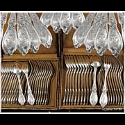 DOUTRE-ROUSSSEL : 48pc Antique French Sterling Silver Louis XV style Flatware Set, Original Boxes