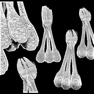 PUIFORCAT : Rare Antique French Sterling Silver SOUBISE Regency Pastry / Cake Fork Set