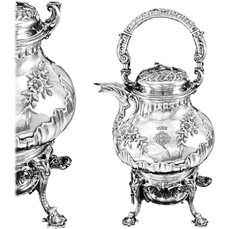 SOUFFLOT : Antique French Sterling Silver Louis XV Kettle on Stand / Samovar