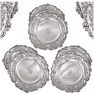 """DELAIRE : Set of 6 Antique French Solid Silver (almost Sterling) 8.3"""" Dessert Plates, Louis XV style"""