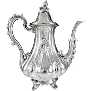 Additional Images for Item ID: 4485 HARLEUX, Antique French Romantic era 4pc Sterling Silver Tea & Coffee Set c. 1840