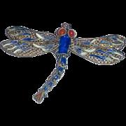 Vintage Dragonfly  cloisonne Enamel Sterling Silver moveable filigree Pendant Brooch