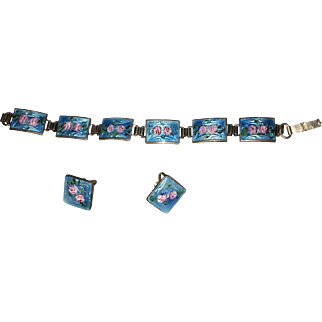 Fine Deco Bracelet & Earrings Set blue green & Pink Enamel on Sterling Links