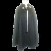 Vintage Wool Cape cloak coat with Lion clasp closures