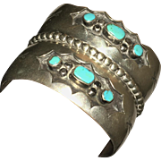 Heavy double cuff sterling silver and turquoise native american bracelet